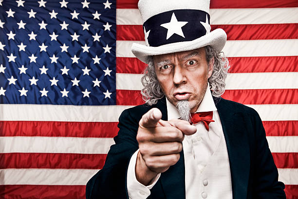 american flag with uncle sam pointing at you - passie stockfoto's en -beelden