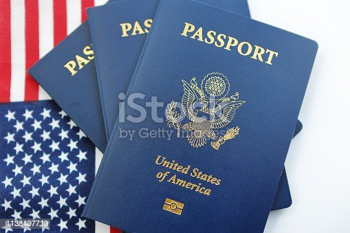 American flag with USA Passport