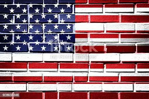 istock American flag with vintage look on brick background 928633346