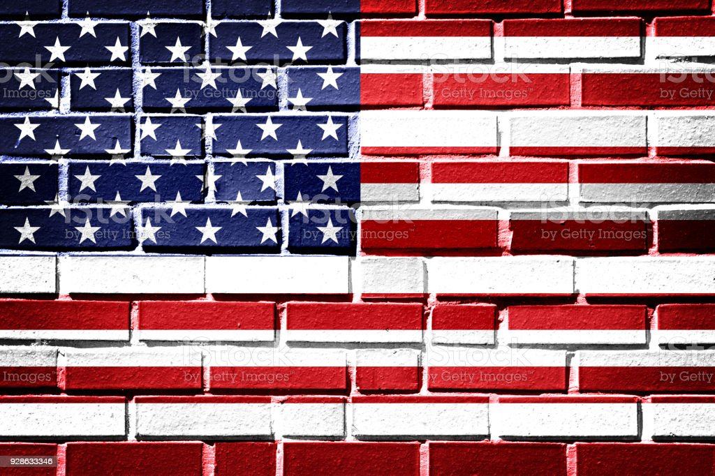 American flag with vintage look on brick background stock photo
