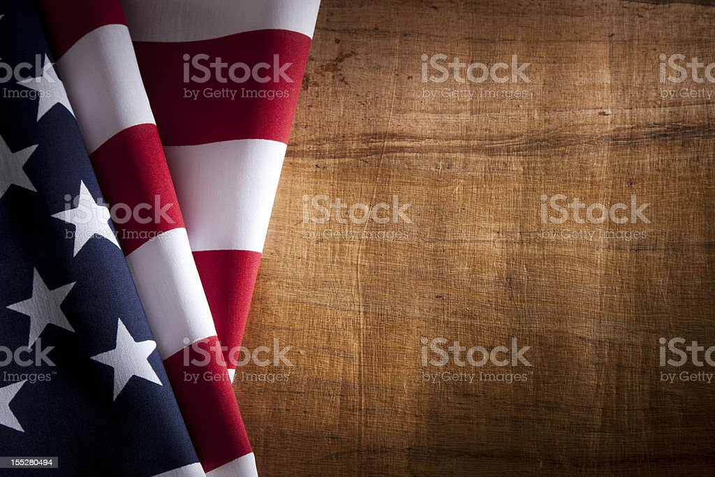 USA American Flag with Wood Texture Copyspace stock photo