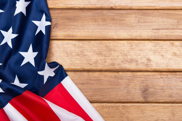 American flag wooden background. The Flag Of The United States Of America. Template .The view from the top. stock photo