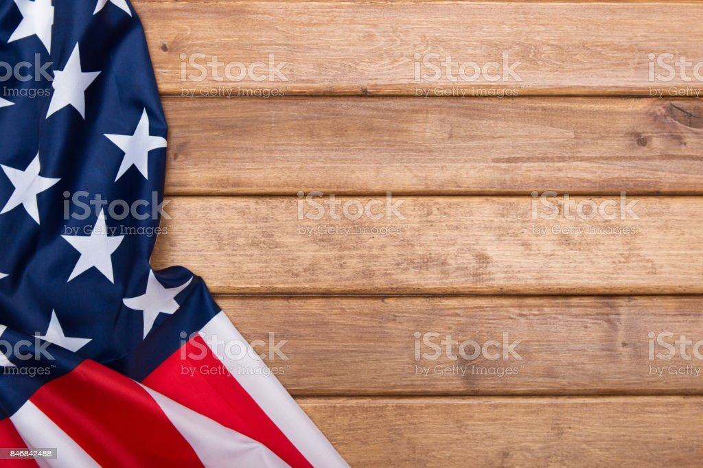 American flag wooden background.The Flag Of The United States Of America. Template.The view from the top. stock photo