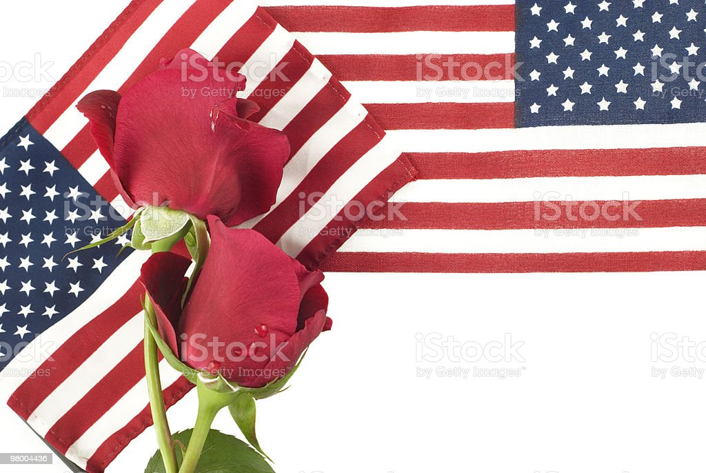 American Flags and Red Roses royalty-free stock photo