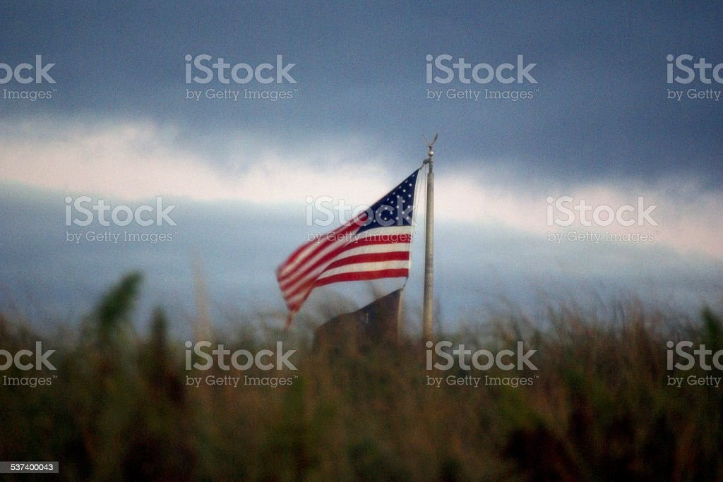 American Flags at Beach stock photo