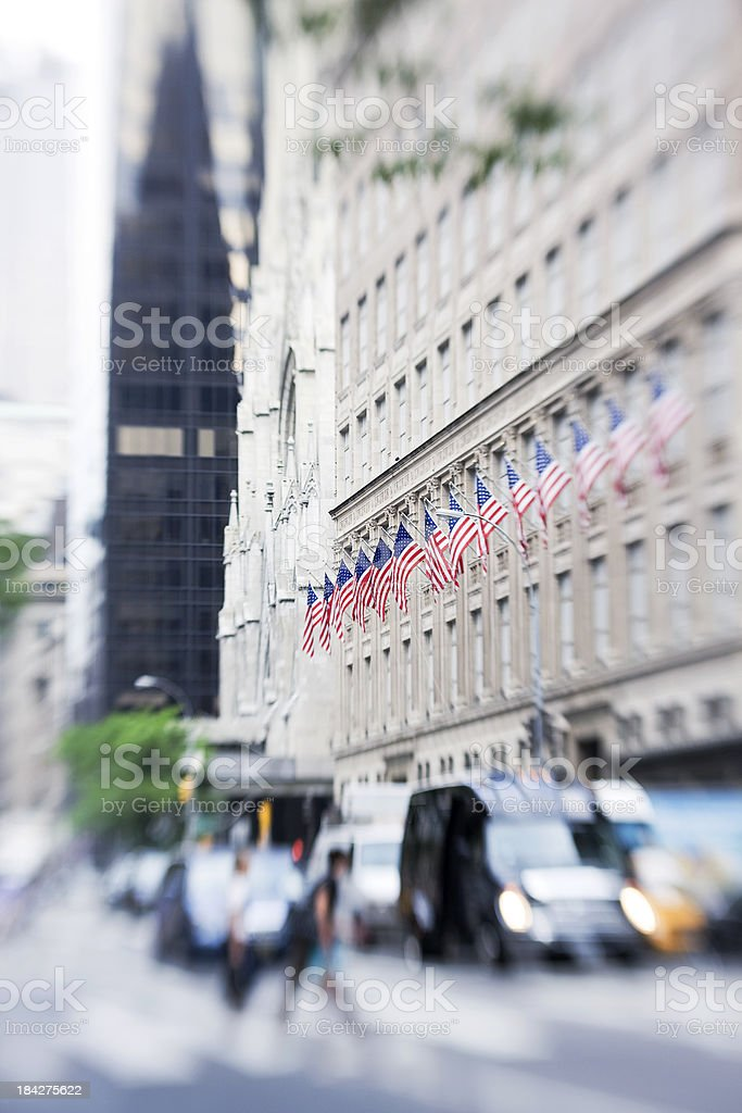 American Flags at Fifth avenue stock photo