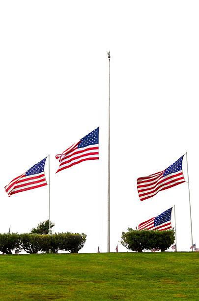 American Flags at Half Mast stock photo