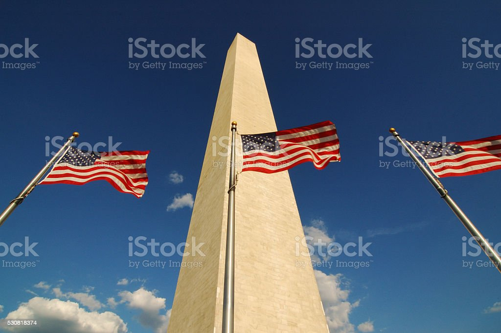 American Flags at Washington Monument stock photo