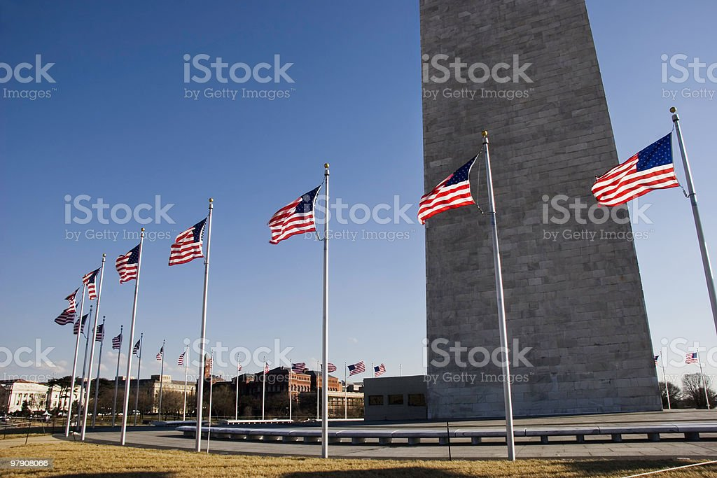 American Flags at Washington Monument royalty-free stock photo