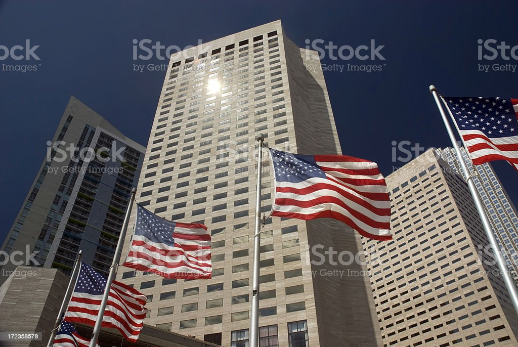 American Flags Buildings Miami Fl royalty-free stock photo