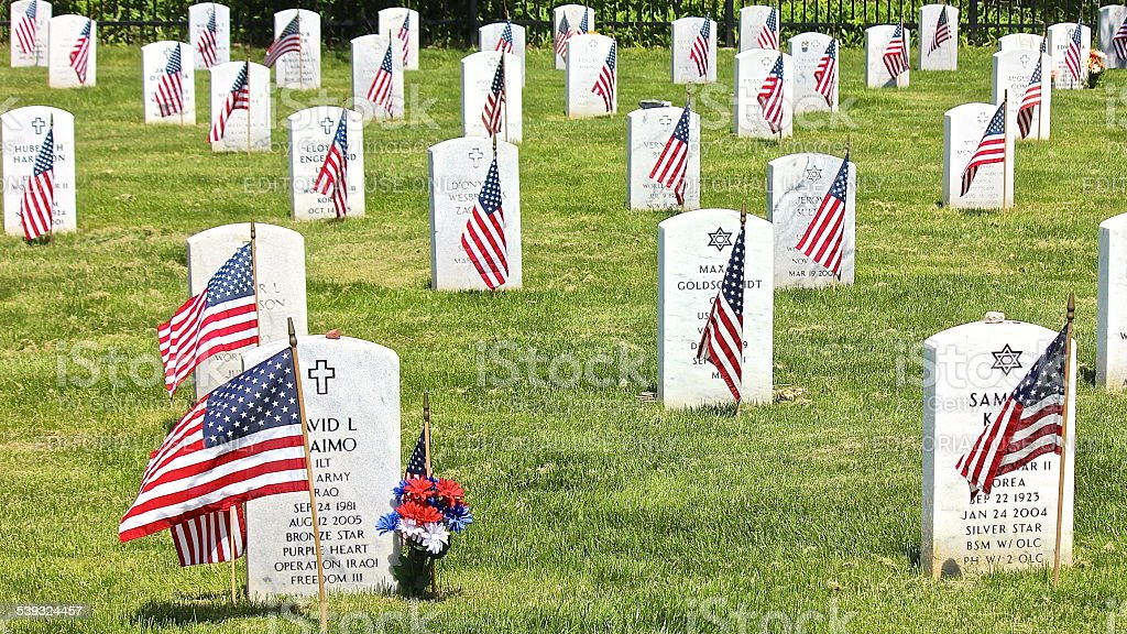 American Flags, Cross, Star of David at Military Cemetery stock photo