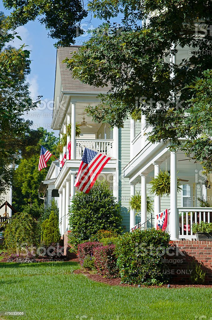 American Flags Hanging to Celebrate Fourth of July stock photo