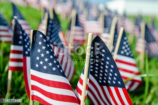 American Flags have been placed in the ground to honor the victims of Nine-Eleven.