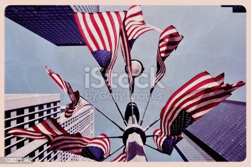 istock American Flags in New York - Vintage Postcard 108328942