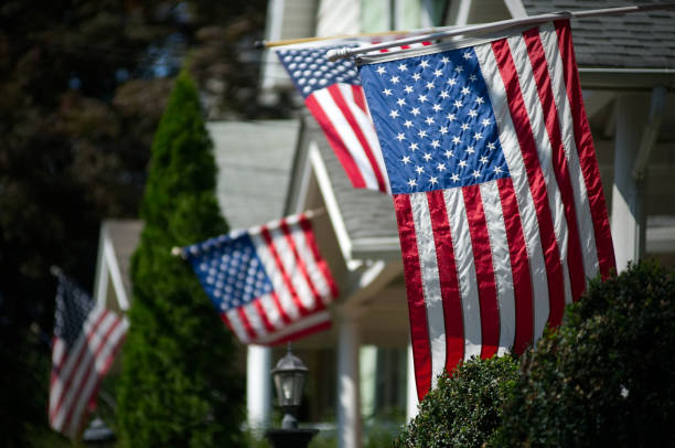 American Flags in UpperMmiddle Class Suburban Neighborhood