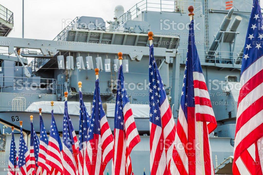American flags Missouri stock photo