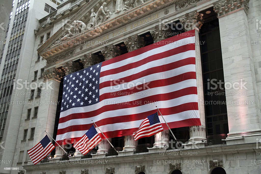 American Flags, New York Stock Exchange royalty-free stock photo