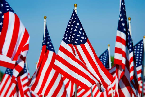 Amerikaanse vlaggen tentoongesteld met witte palen foto