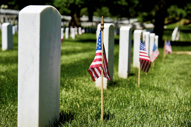 american flags on gravesite - arlington national cemetery stock pictures, royalty-free photos & images