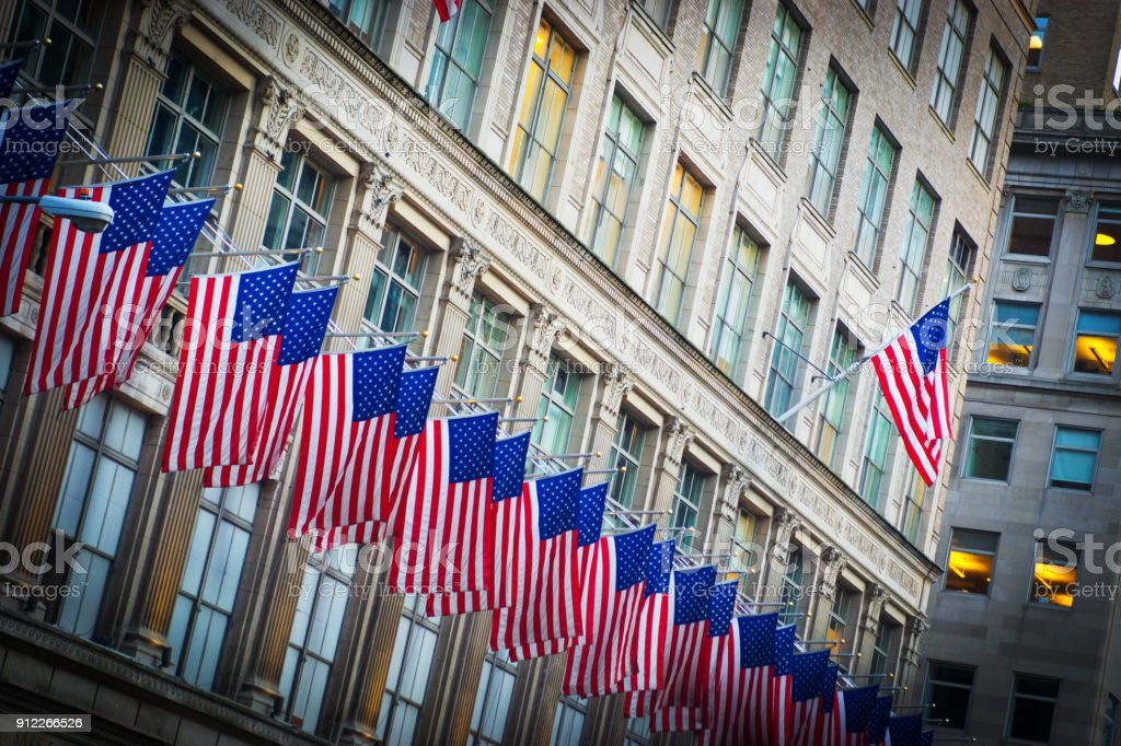 American Flags on Lexington Avenue stock photo
