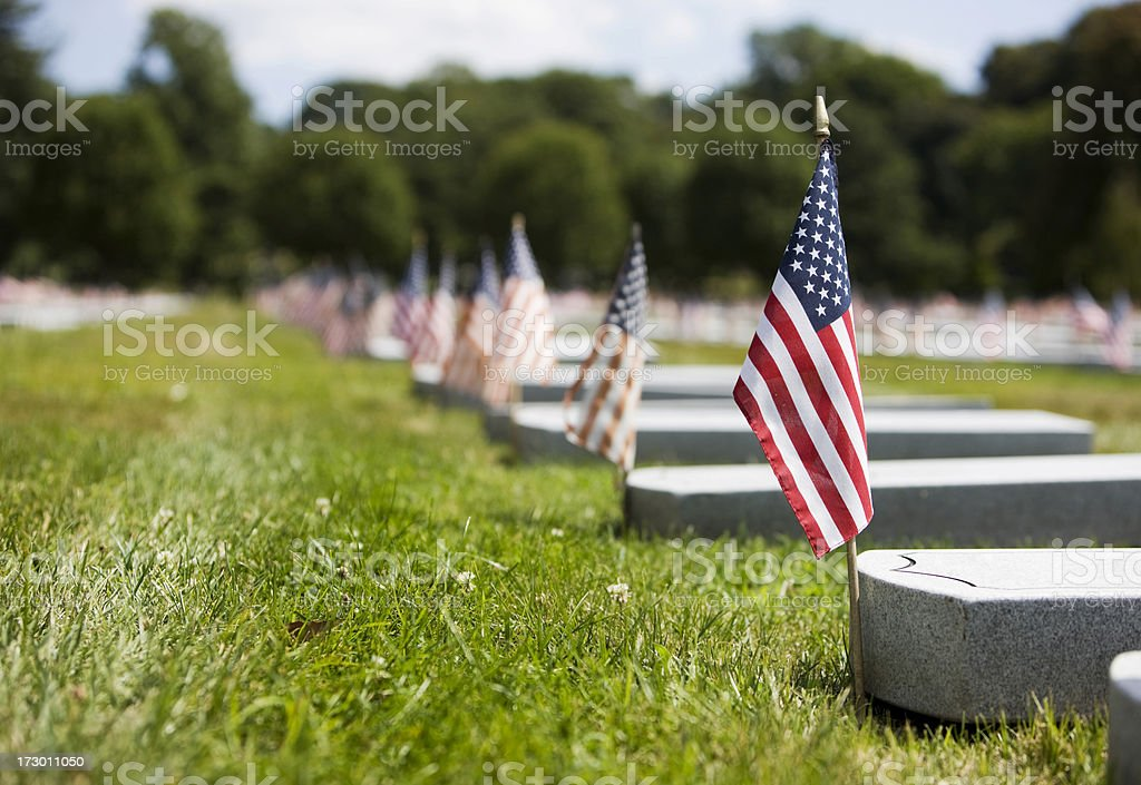 American Flags on Military Veteran Tombstones in Cemetery, Copy Space stock photo