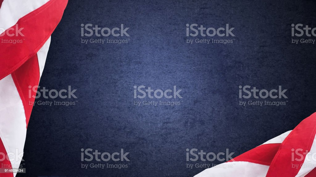 American Flags Over Blue Texture stock photo