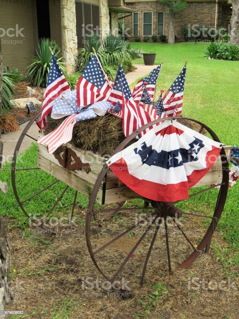 US American flags patriotic display stock photo