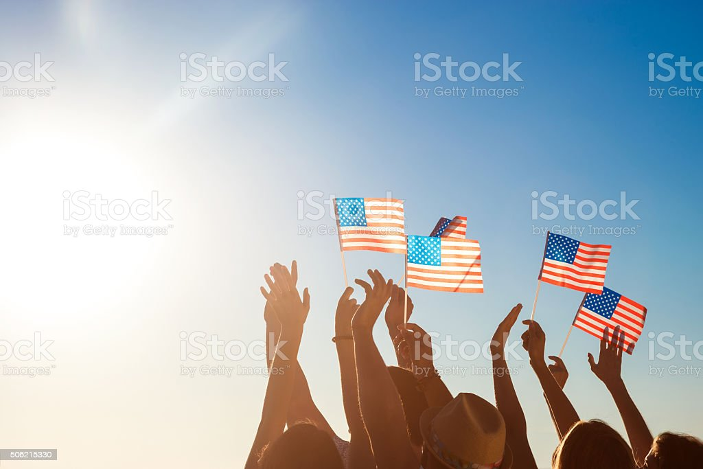 American flags. Patriots of America. stock photo