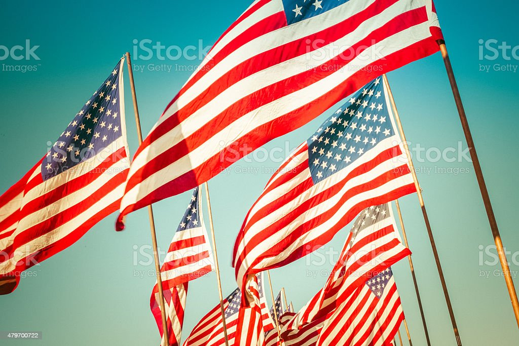 American flags waving in the wind stock photo