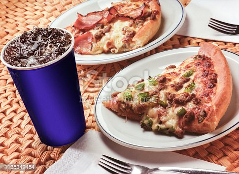 Pizza and cola for lunch.