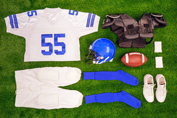 American footbal kit Flat lay stock photo