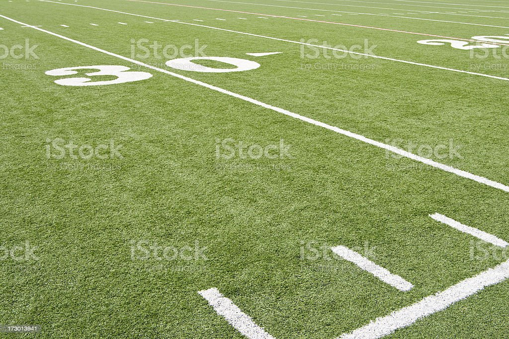 American Football 30 Yard Line Angled Left royalty-free stock photo