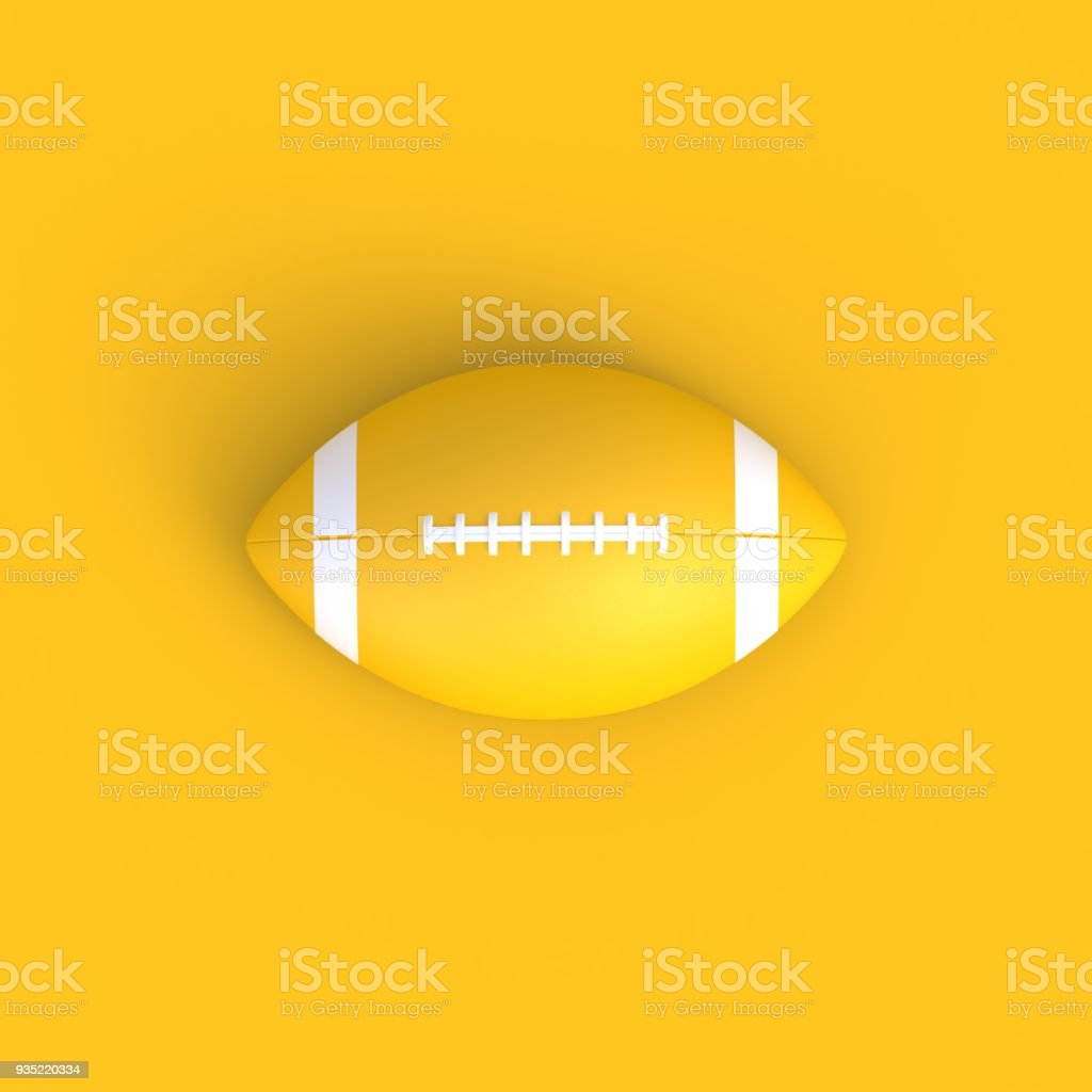American football abstract minimal yellow background, Sport concept, 3d rendering stock photo