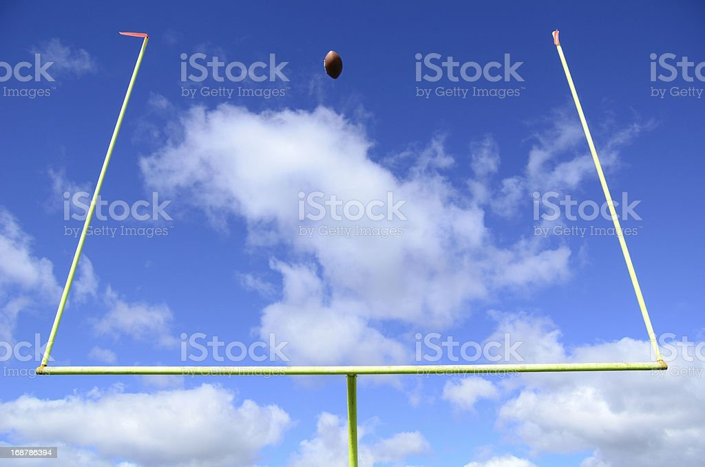 American Football and Goal Posts stock photo