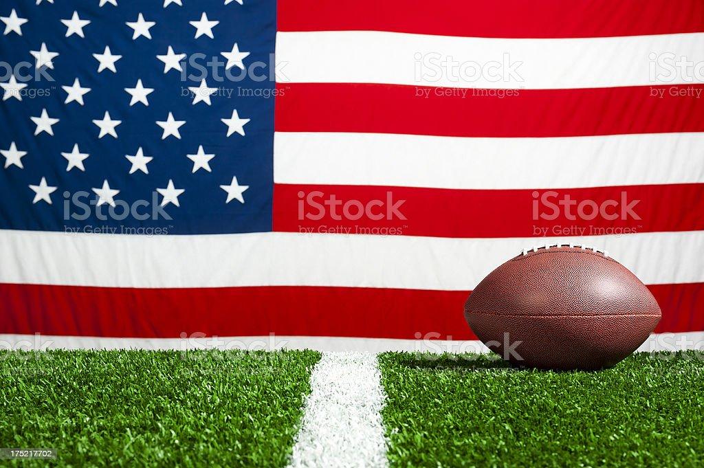 American Football and US Flag stock photo