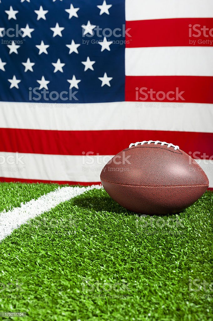 American Football and US Flag royalty-free stock photo