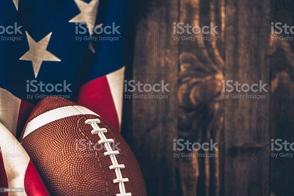 American football background with USA flag and copy space stock photo