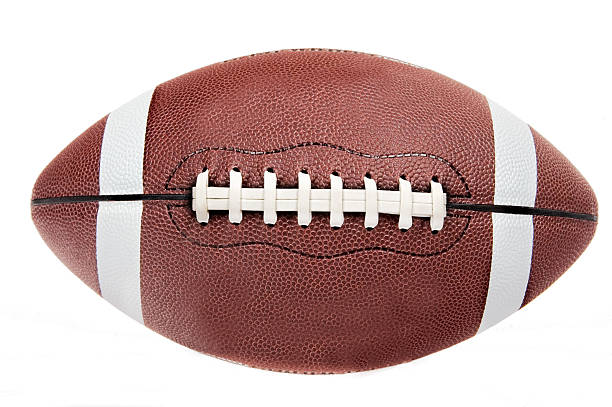 american football ball on white background - cut out stok fotoğraflar ve resimler