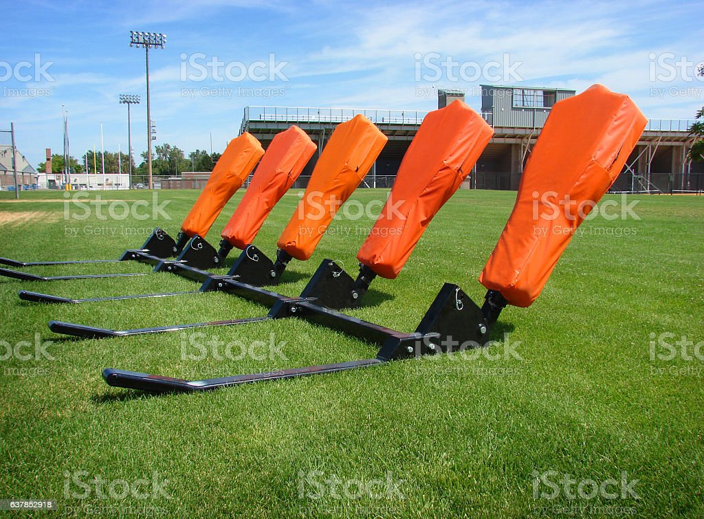 American football blocking sled stock photo