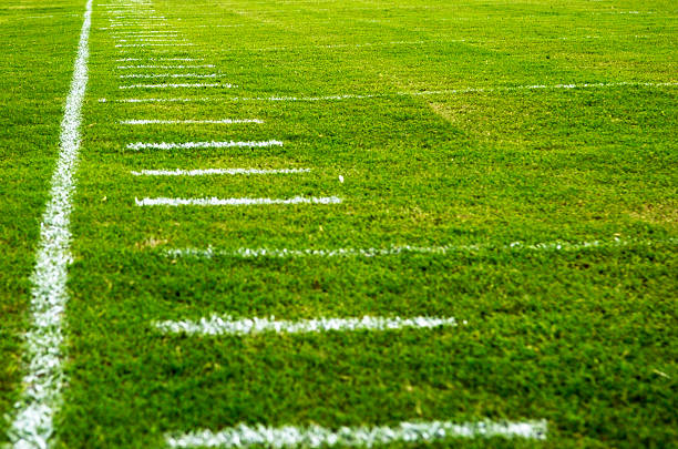 American Football Field at Football Game stock photo