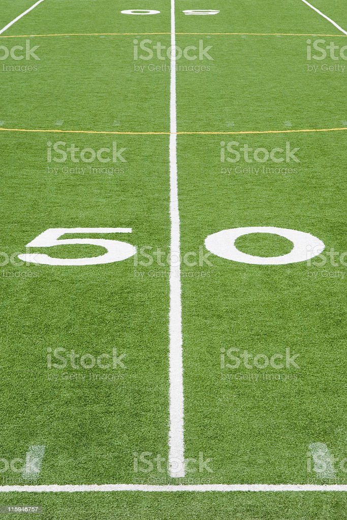 American Football Field Fifty Yard Line Close Up stock photo
