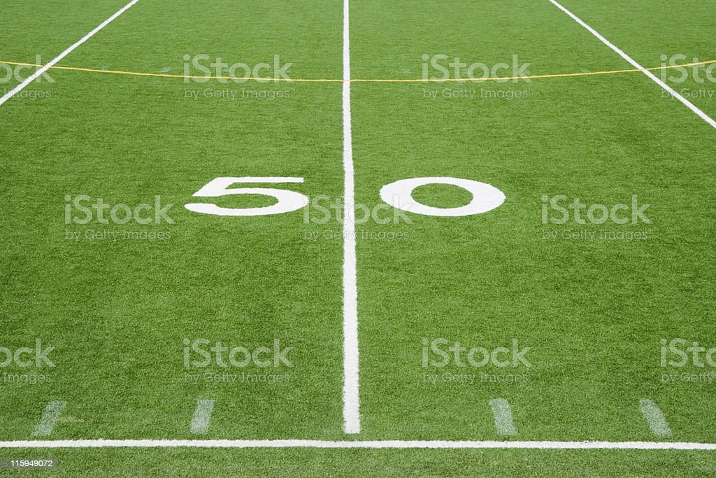 American Football Field Fifty Yard Line, Number 50 stock photo