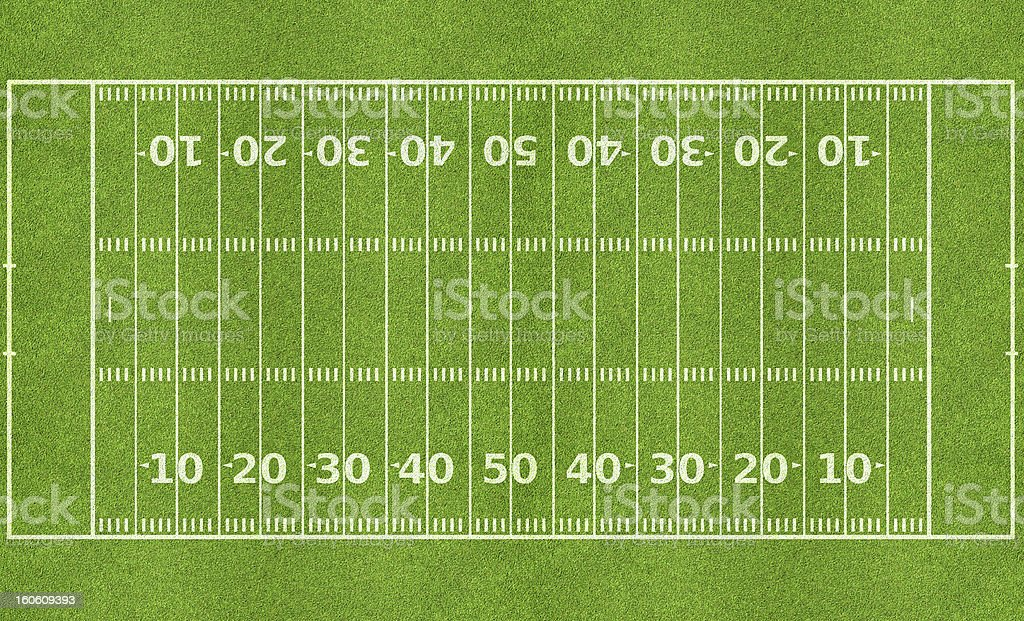 American football field with line markers stock photo
