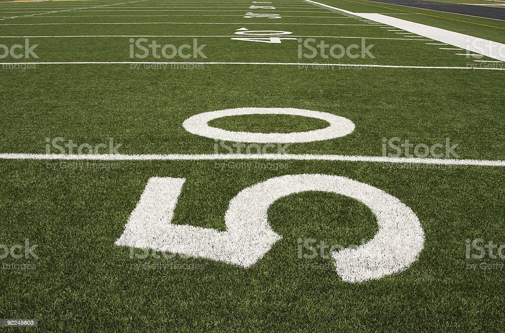 American Football Field with Yard Lines royalty-free stock photo