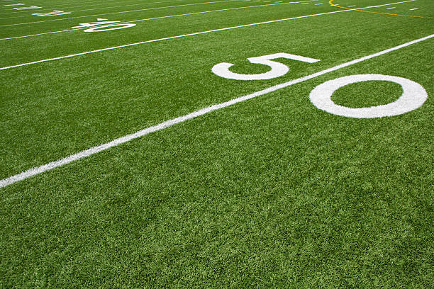 American Football Field Yard Lines Yard Lines of a American Football Field ncaa college football stock pictures, royalty-free photos & images