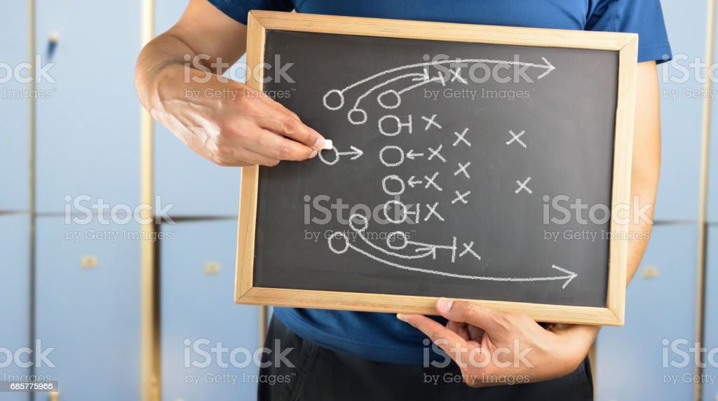 american football game tactical for win stock photo