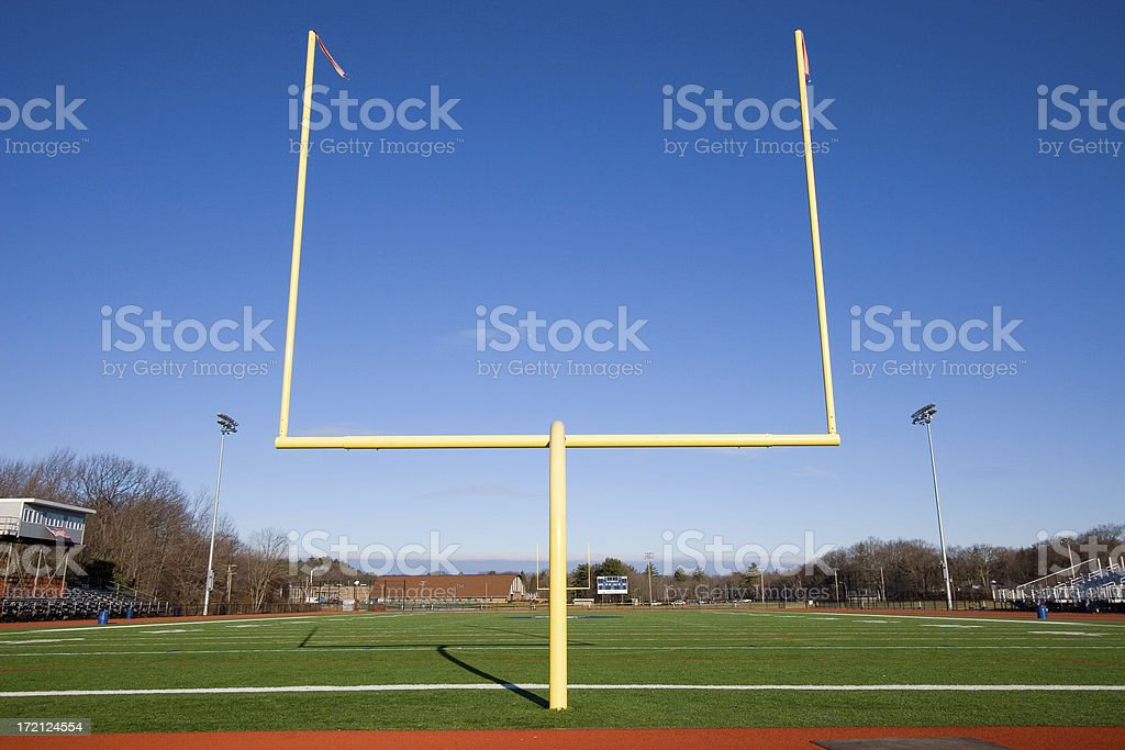 American football goal posts stock photo