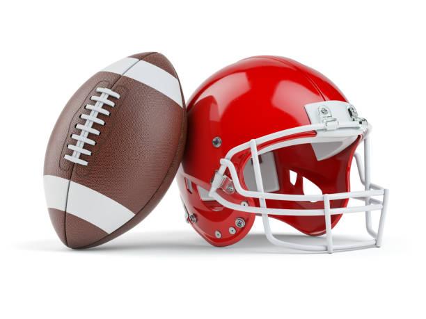 American-Football-Helm und Ball isoliert auf weiß. – Foto