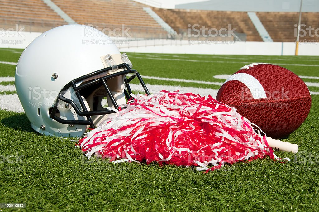 American Football, Helmet, and Pom Poms royalty-free stock photo