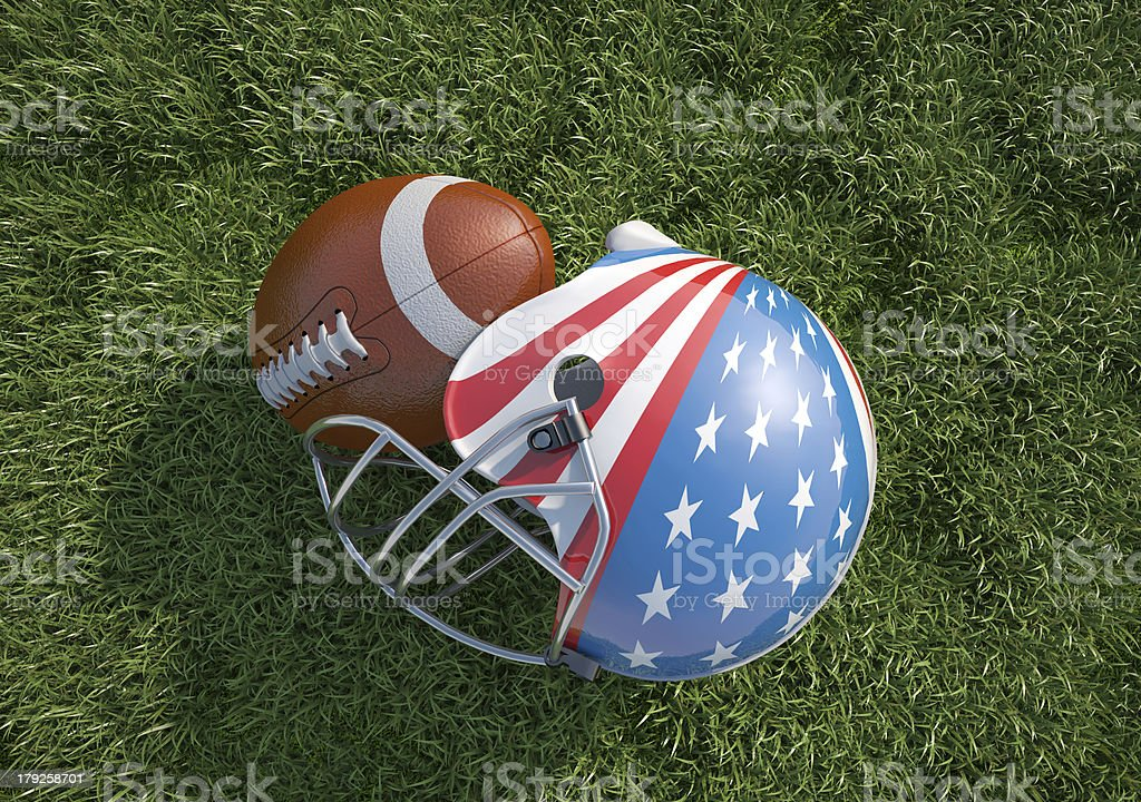 American football helmet decorated as US flag and ball. Close-up. royalty-free stock photo